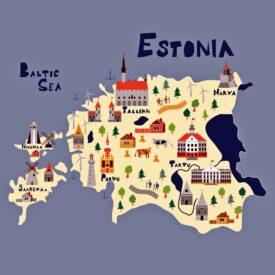Illustration map of Estonia with nature, animals and landmarks. Flat vector illustration.